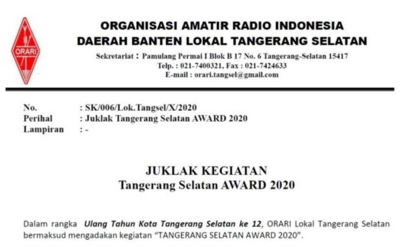 Juklak Tangsel Award 2020