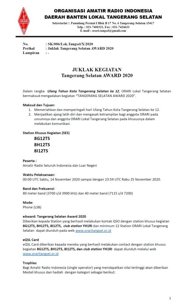 Juklak Tangerang Selatan Award 2020 Halaman 1