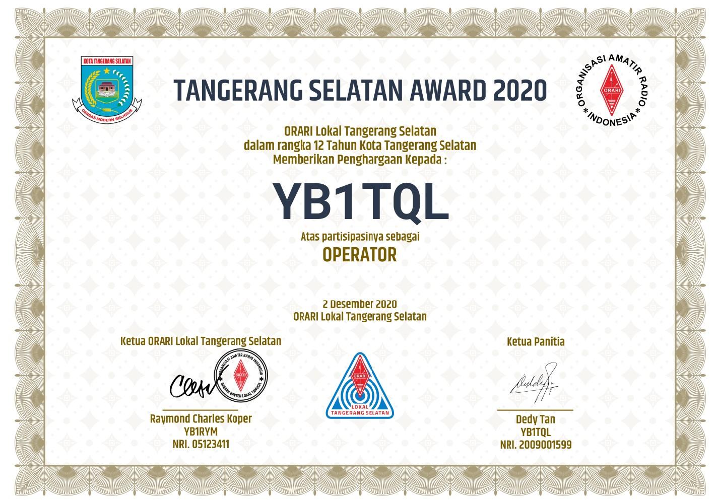piagam tangsel award 2020